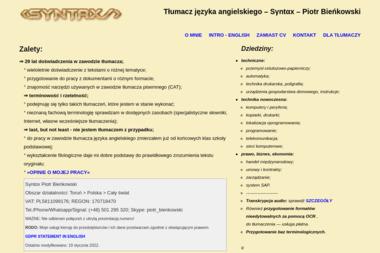 Syntax - Tłumaczenia dokumentów Toruń
