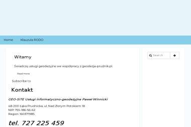 Geo-Site Usługi Informatyczno-Geodezyjne Paweł Winnicki. Geodezja, strony internetowe - Agencja interaktywna Prudnik