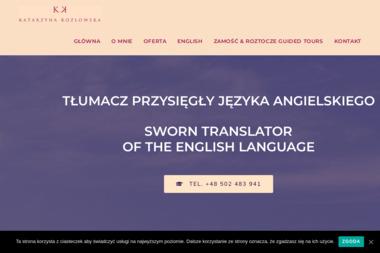 Tłumacz przysięgły języka angielskiego. Katarzyna Kozłowska - Tłumacze Zamość