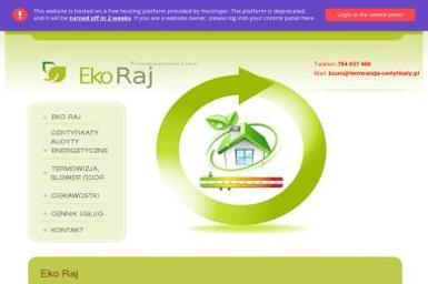 Eko Raj - Certyfikaty, Termowizja, Blower Door - Okna PCV Godów