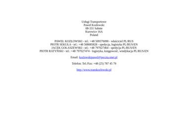 Usługi Transportowe Kozłowski Paweł Zam Kurowice 16 A 08 331 Sabnie - Firma transportowa Kurowice