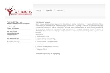 "Kancelaria Rachunkowo-Finansowa ""TAX-BONUS"" - Usługi finansowe Tarnobrzeg"