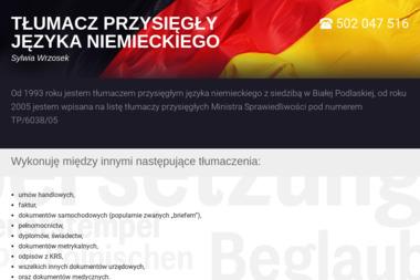TŁUMACZ PRZYSIĘGŁY JĘZYKA NIEMIECKIEGO Sylwia Wrzosek - Tłumacze Biała Podlaska