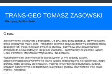 Trans-Geo. Tomasz Zasowski - Firma Geodezyjna Białobrzegi