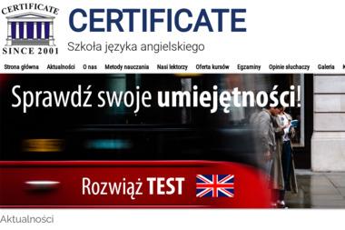 Szkoła Języka Angielskiego Certificate - Szkoła językowa Siedlce