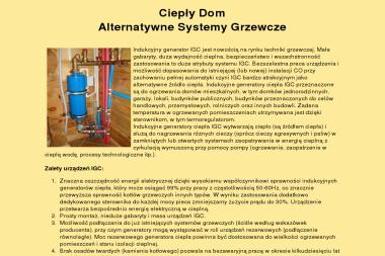 Ciepły Dom Generatory Indukcyjno Wirowe Irena Denkiewicz Waldemar Denkiewicz S.C. - Instalacje Solarne Białystok