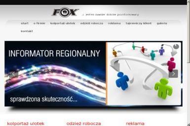 Fox. Kolportaż ulotek reklamowych, reklama, przyczepy reklamowe - Drukarnia Dąbrowa Tarnowska