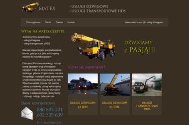 FHU Matex - Usługi dźwigowe, transport hds - Maszyny budowlane Częstochowa