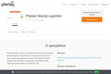 Plastar Maciej Łapiński - Tynki maszynowe Barlinek