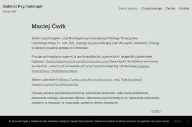 Gabinet Psychoterapii mgr Maciej Ćwik - Gabinet Psychologiczny Rzeszów