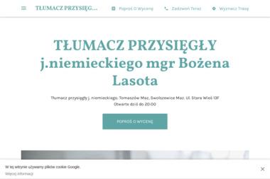 TŁUMACZ PRZYSIĘGŁY j.niemieckiego mgr Bożena Lasota - Tłumacze Swolszewice Małe