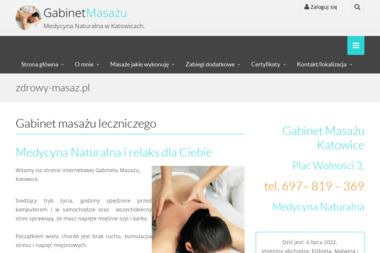 Gabinet masażu - medycyna naturalna - Masaż Katowice