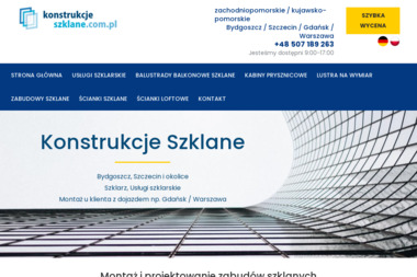 Konstrukcje Szklane - Balustrady szklane Bydgoszcz