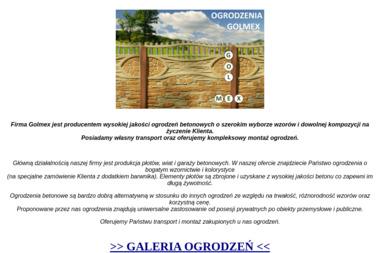 """""""GOLMEX"""" Grzegorz Golczyński - Producent Ogrodzeń Betonowych Władysławów"""