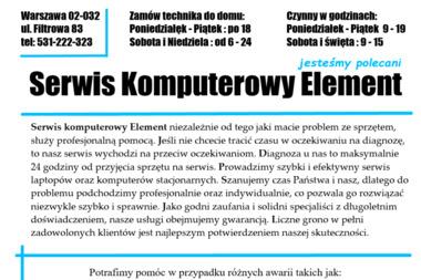 Element Serwis 24H - Klinika komputerów - Serwis komputerów, telefonów, internetu Warszawa