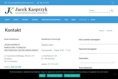 Jacek Kasprzyk Kancelaria Tłumacza Przysięgłego Języka Angielskiego - Biuro Tłumaczeń Wrocław